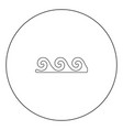 water wave black icon in circle isolated vector image vector image