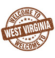 welcome to west virginia brown round vintage stamp vector image vector image