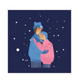 young couple hugging under vector image