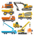 construction equipment and machinery with trucks vector image