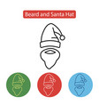 beard and santa hat icon vector image
