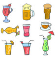 art drink set doodles vector image vector image