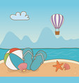 balloon plastic and vacations items on beach vector image