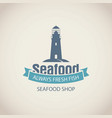 banner for seafood shop with lighthouse and words vector image vector image