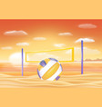 beach volleyball and net on a sand beach vector image vector image