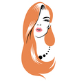 beauty girl red vector image