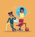 black man talking on phone with a woman vector image vector image