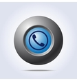 Blue button with phone handset icon vector image