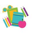 books eyeglasses apple school supplies vector image