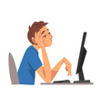 bored man working with computer lazy male vector image vector image