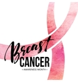 Breast cancer card Awareness month ribbon vector image vector image