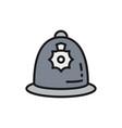 british police helmet police cap flat color line vector image