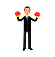 businessman character in boxing gloves celebrating vector image vector image