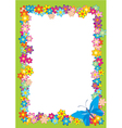 butterfly flowers frame vector image vector image