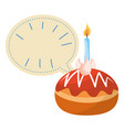 cake with candle and blank bubble speech vector image vector image