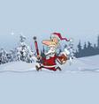 cartoon joyous santa claus is quickly running vector image vector image