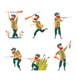 characters of hunters cartoon vector image
