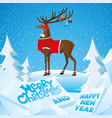 christmas deer with beautiful horns vector image