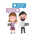 couple with laptop and speech bubble vector image vector image