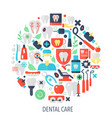 dental care flat infographics icons in circle vector image vector image