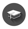 education and book flat icon with long shadow vector image