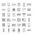 electric heater device icons set outline style vector image