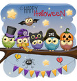 five owls on the branch vector image vector image