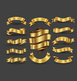gold ribbon banners collection vector image