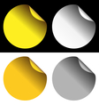 golden and silver stickers on white and black vector image