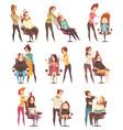 hair salon treatments cartoon icons vector image vector image