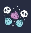 halloween with cute pumpkins and skulls vector image