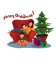 Happy Family woman parent and kid celebrating vector image vector image