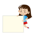 happy girl holding white board vector image vector image