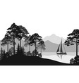 landscape with ship on lake vector image vector image