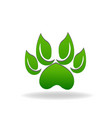 leaf green paws icon vector image