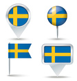 Map pins with flag of Sweden vector image vector image