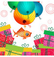 mid autumn festival lantern and gifts vector image vector image