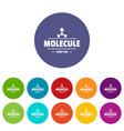 molecule energy icons set color vector image vector image