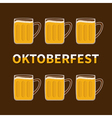 Oktoberfest Six beer glass mug vector image