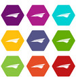 origami airplane icons set 9 vector image vector image