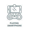 playing on smartphone line icon linear vector image