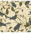 Seamless grungy pattern with birds and tree vector image vector image