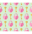 seamless pattern from padlock key with heart shape vector image