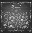 set hand drawn sweets on chalkboard vector image