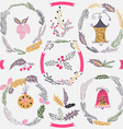 Set of Christmas and New Year wreath and other vector image vector image