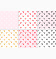 set seamless pattern with hearts vector image vector image