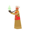 shaman character smoking big pipe of peace vector image vector image