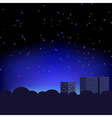 Silhouette of the city and night sky with stars vector image vector image