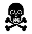 skull with bones icon black vector image vector image