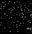 sparkling silver stars background on black golden vector image